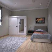 Kenzlife gardırop aynalı sürgülü kapak kapı 120 papatya beyaz gar-3