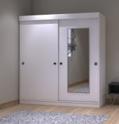 Kenzlife Gardırop Aynalı Sürgülü Kapak 120 Beyaz Papatya Gardolap-6