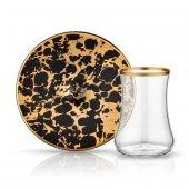 Koleksiyon Dervish Ebru Siyah Mat Altın 6 Lı Çay Seti