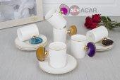 Acar Renkli Doğaltaş Kulplu Kahve Fincan 6 Lı Gold