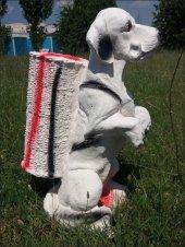 Kemikli Sevimli Köpek İç Dış Mekan 55cm Şemsiyelik Sepetli Heykel