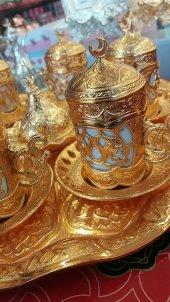 Altın Renkli Metal Üzeri Kaplama Kararmaz Motifli Kahve Takımı