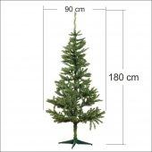 Bol Süslü 180 cm Uzun Gerçek Gibi Yeşil Gür Yılbaşı Çam Ağacı-3