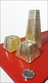 3 lü Külçe Altın Kaplama Renk Seramik Büyük Kalın Şamdan Mumluk-2