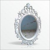 50x70cm Oymalı Rustik Beyaz Çerçeveli Antik Duvar Boy Aynası