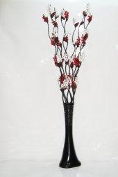 10 Dallı Beyaz Kırmızı Üzüm Çiçek 60 Cm Siyah...
