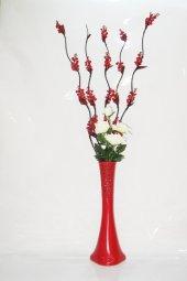 60 Cm Kırmızı Vazo Kırmızı 5 Adet Üzüm Çiçek...