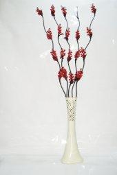 60 cm Desenli Krem Vazo 5 Adet Kırmızı Üzüm Çiçekler