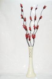 60 Cm Desenli Krem Vazo 5 Adet Kırmızı Üzüm...