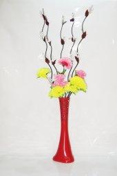 60 Cm Kırmızı Desenli Vazo Çiçekler