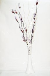 60 cm Beyaz Desenli Uzun Vazo 5 Adet Mor Üzüm 5 Adet Krem Dal