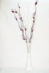 60 Cm Beyaz Desenli Uzun Vazo 5 Adet Mor Üzüm 5...