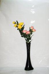 60 Cm Siyah Desenli Vazo Sarı Pembe Gül