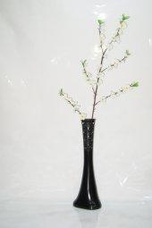 60 Cm Desenli Siyah Vazo Beyaz Bahar Dalı