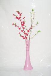 60 Cm Pembe Desenli Vazo Beyaz Pembe Bahar Dalı
