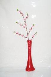 60 Cm Kırmızı Desenli Vazo Pembe Bahar Dalı