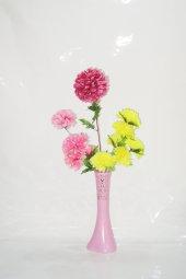 40 Cm Pembe İşlemeli Vazo Sarı Pembe Çiçek Ve...