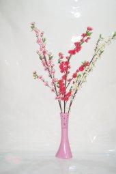 40 Cm Pembe İşlemeli Vazo Bahar Dalları
