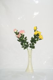 40 Cm Krem Rengi Desenli Vazo Pembe Sarı Gül