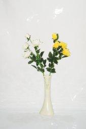 40 cm Krem Rengi İşlemeli Vazo Beyaz Sarı Gül