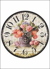 Mdf Vazoda Çiçek Resimli Duvar Saati