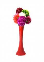 7 Renk Ortanca Cam 60 Cm Kırmızı Vazo
