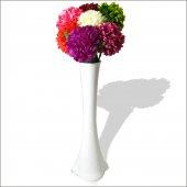 7 Renk Ortanca Cam 60 Cm Beyaz Vazo