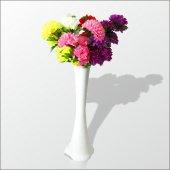5 Renk Çiçek Ve Cam 60 Cm Beyaz Vazo