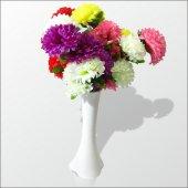 5 Renk Çiçekli Kırılmaz 40 Cm Beyaz Vazo