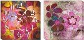 Renkli Çiçekler Kanvas Tablo Duvar Saati