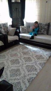 Nur Home Osmanlı Jakarlı Krem Gri Lastikli Halı Örtüsü Welsoft-5