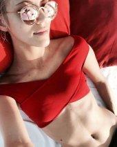 Angelsin Kırmızı Özel Tasarım Bikini Üst-2