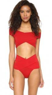 Angelsin Kırmızı Özel Tasarım Bikini Üst-4