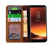 Wachikopa Samsung Galaxy S9 Hakiki Deri Kılıf Book Case Boni Kahv-5