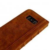 Wachikopa Samsung Galaxy S8 Hakiki Deri Kılıf Book Case Boni Kahv-5