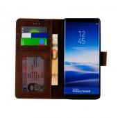 Wachikopa Samsung Note 8 Hakiki Deri Kılıf Library Satin  Kahvere-4