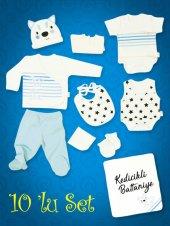 Piaff Erkek Bebek Penye Zıbın Seti 10lu Wg5022