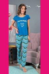Piaff 4064 Kadın Pijama Pamuklu Renkli Baskılı Üst Pantolon Tk-2
