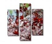 3 Parçalı Kırmızı Yapraklı Ağaç Tablosu
