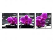 3 Parçalı Mor Çiçekler Tablosu