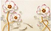 3d Çiçek Ve İnci Modelli Duvar Kağıtları