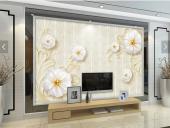 3d Beyaz Çiçekler Modelli Duvar Kağıtları