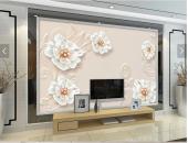 3d Beyaz Çiçeklerve İnciler Modelli Duvar...