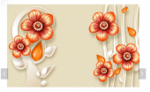 3d Turuncu Çiçekli Duvar Kağıtları
