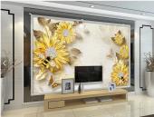 3d Sarı Çiçekli Duvar Kağıtları