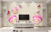 3d Özel Serii Pembe Çiçekli Duvar Kağıtları
