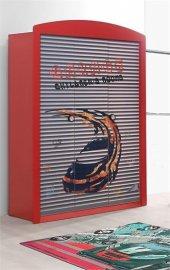Arabalı Yatak Dolabı Özel Tasarım 3 Kapılı Kırmızı