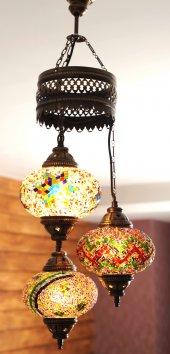 Kilim Dalgalı 3'lü Otantik Tavan Sarkıt Avize Mozaik Lamba Gece Lambası Dekor Lamba