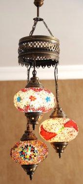 Lale 3'lü Otantik Tavan Sarkıt Avize Mozaik Lamba Gece Lambası Dekor Lamba
