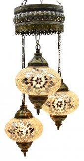 Beyaz Taşlı 3'lü Otantik Tavan Sarkıt Avize Mozaik Lamba Gece Lambası Dekor Lamba